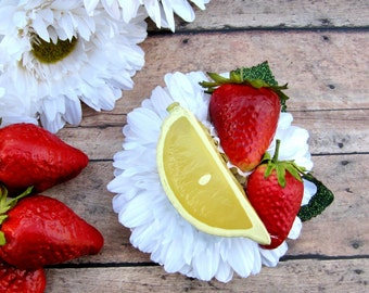 Strawberry Margarita Fruit Hair Clip, Lime and Strawberry Hair Clip, Fruit Hair Clip, Retro hair