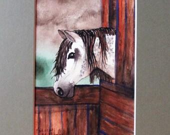 8x10 Matted Fine Art Print of Original Watercolor Painting - Horse Barn by Karen Millsap