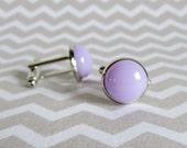 Lavender Cuff Links, Fused Glass Cufflinks, Modern Classic Simple Cuff Links