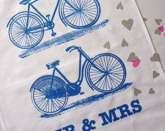 Mr & Mrs Bicycles Wedding gift tea towel classic blue
