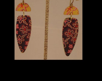 Boho One of a Kind Painted Brass Earrings