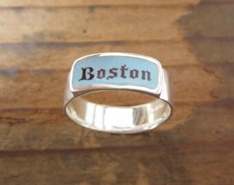 Boston Band Ring - Sterling Silver and Vitreous Enamel Boston Ring