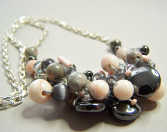 Shades of Gray and Peach Necklace, Statement Necklace, Knitted Beaded Jewelry