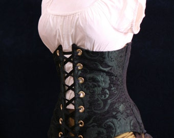 All Sizes Black & Green Medallion Wench Corset