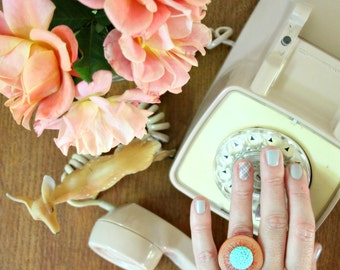 Vintage Button Ring - rust + aqua
