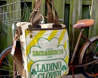 Ladino Clover - Sacramento - Americana Vintage Seed Feed Sack Book Tote W- OOAK Canvas & Leather Tote... Selina Vaugha