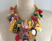RESERVED FOR FEDERICA Vintage Toy Necklace, Flower Necklace, Statement Necklace - Babes In Toyland