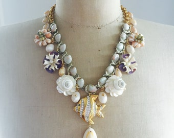 Vintage Fish Sea Shell Charm Statement Necklace - Under The Sea