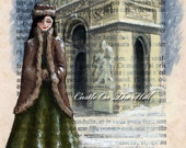 Paris print - Arc de Triomphe in the Snow - ACEO miniature