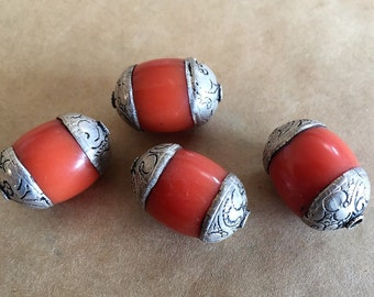 Silver Wrapped Coral Beads (Item #P165)