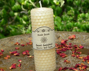 Sacred Sandalwood Beeswax Spell Candle - Moon Magick, Peace, Tranquility, House Blessing, Manifesting, Meditation, Harmony, Sacred Space