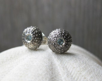 blue AQUAMARINE SEAURCHIN gemstone studs sterling silver pisces seashell post earrings
