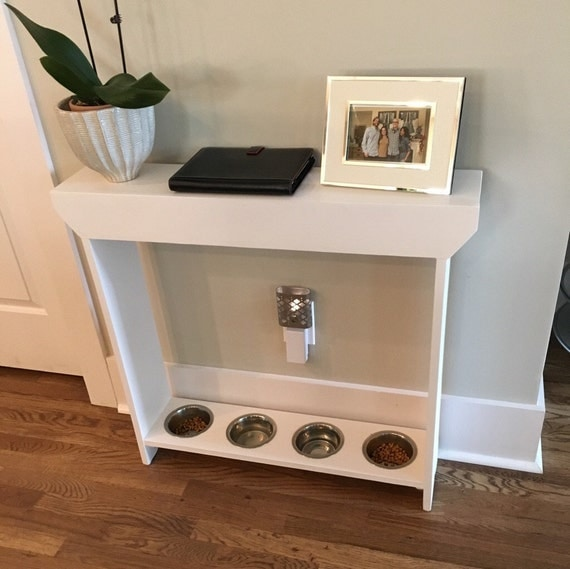 Dog Console Table ~ Elevated dog feeder console table raised bowl
