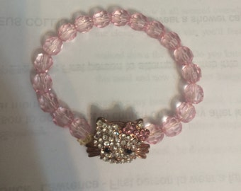 Glam Kitty Crystal Face Elasticized Pink Bracelet Size S, M, or L