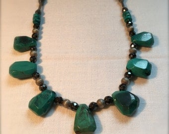 Native American inspired necklace - turquoise sterling silver hematite