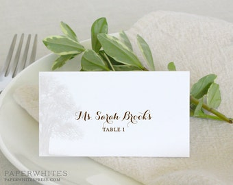 Printed Oak Place Cards, Oak Tree Tented Wedding Place Cards