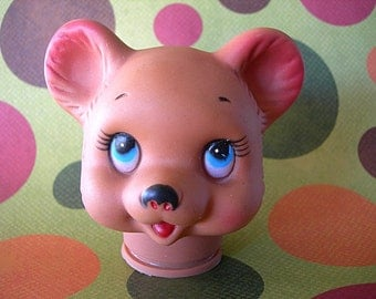 "Vintage Baby Bear Puppet Head Plastic Made in Hong Kong 3-1/2"" three-dimensional full round"
