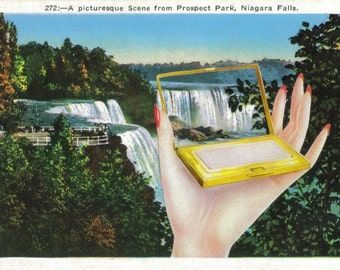 OOAK Altered Art Postcard, Niagara Falls Art, Scenic View, Mirror Image, Waterfall Artwork, One of a Kind Paper Collage