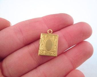 Mini raw brass book locket charms, 11x14mm, pick your amount, D194