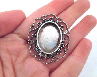 Antiqued Silver Filigree Pendant,  18x25mm Setting, B145