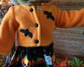 18 Inch Doll clothes - Orange Bat Fleece Jacket - Halloween
