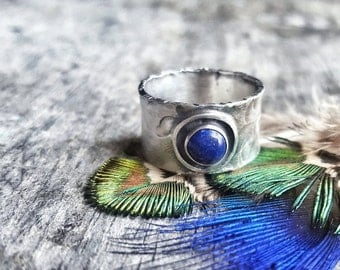 Lapis Ring - Wide Band Sterling Silver Ring - Hand Forged Metal Jewelry - Southwestern Ring - Lapis Lazuli Jewelry - Textured Silver Ring