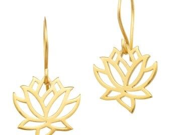 Lotus Flower Earrings, Gold Plated Sterling Silver, Mothers Day Gifts, Graduation Gift, Mother's Day