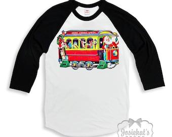 "Christmas Train Shirt - Santa Train Baseball Shirt - ""Here Comes Santa""  Santa Trolley Boy or Girl - Black White Baseball Retro Vintage"