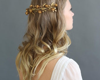 Bridal hair wreath - Gilded wreath reverse hair comb - Style 657 - Made to Order