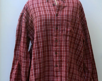 Cotton Flannel Vintage Men rust red Shirt, Comfy man woman shirt plaid grunge hipster 90s XL extra large xlarge button down shirt Hipster