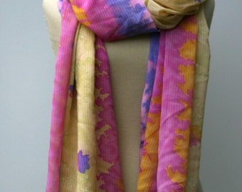 Indian dupatta scarf, Ethnic Vintage Scarf, Dupatta stole scarf, pink yellow purple cover up, shoulder shawl, scarf, water colors pastell