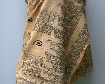 Indian scarf, Ethnic Vintage Scarf Hippie Boho Dupatta India, beige black block print scarf, beach cover up shoulder shawl, table cloth