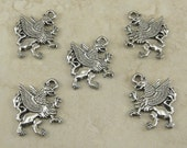 5 Griffen Charms > Winged Lion Gryffindor Crest Magic Creature - Unfinished American Made Lead Free Silver Pewter I ship internationally
