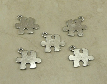 5 Puzzle Piece Charms > Autism Awareness Jigsaw Jig Saw - Raw American made Lead Free Silver Pewter - I ship internationally