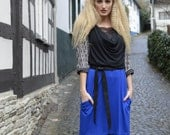 Howl Cowl Dress SMALL-MEDIUM upcycled, one of a kind, eco fashion, fall fashion, handmade, tencel, jersey, knit, blue, black, patterned