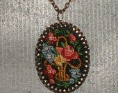 Vintage needlepoint necklace pendant on original chain