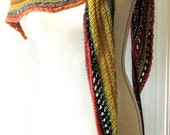 Merino Mohair Skinny Triangle Shawl Style Scarf Neckwrap with Beads  - Fall Mochi