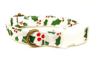 Happy Holly - White Red Green Christmas Organic Cotton CAT Collar Breakaway Safety -  All Antique Brass Hardware