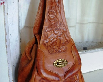 Vintage Leather Hand Tooled Handbag Purse Satchel