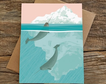blank card set / narwhal cards / stationery set