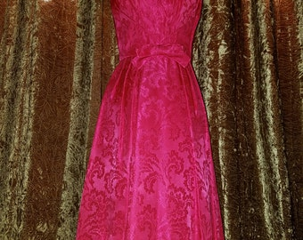 Vintage 1950's Hot Pink Brocade Cocktail Dress with Matching Jacket XS