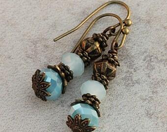 Vintage Victorian Brass Earrings, Blue Aqua Glass, Frosted Blue, Antique Decorative, Chunky Drop Earrings EAZU