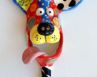 Small Dog Mask with Leash Hook Ceramic Wall Hanging Handmade by Dottie Dracos, Wild Wild Things; ceramic dog mask, ID D3168