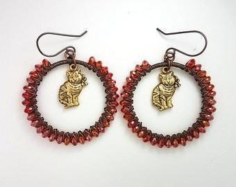 Hoop Earrings, Wire Wrapped Earrings, Hoop Jewelry, Cat Earrings, Cat Jewelry, Animal Jewelry, Animal Earrings, Kitty Earrings, Red Earrings