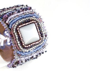 Bead Embroidery Cuff - Calliope, Bracelet, Seed Beads, Cat Eye Cabochon, Purple, Ultra Violet, Leather, Beaded