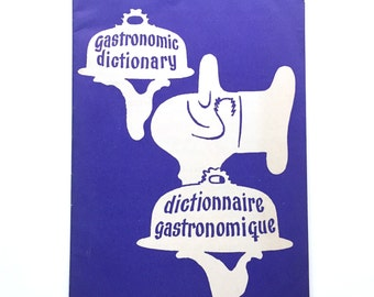 Vintage 1950's Danish Denmark Gastronomic Dictionary English French Brochure Booklet