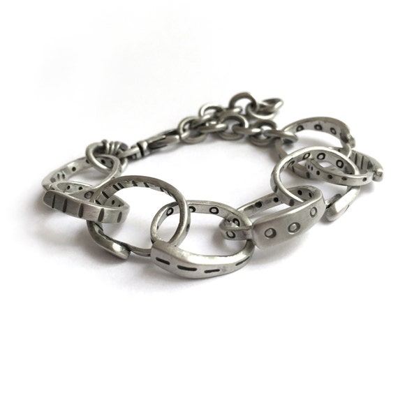 Sterling Silver Large Link Bracelet Heavy Chain Recycled