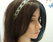 White lace headband, Lace and leather headband, Lace hair accessory, Elastic headband, Gift for women, MALAM