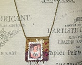 RESERVED for Janene Frida Kahlo Mixed Media Boho Art  Amulet Necklace Frida and Parrots