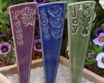 Peace, Love, Joy - Garden Marker Trio